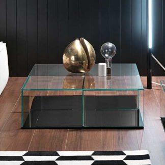 FIAM glazen salontafel Quadra - zwart design by Matteo Nunziati