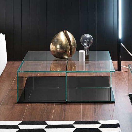 Salontafel Zwart Glas Design.Fiam Glazen Salontafel Quadra Glazendesigntafel Nl