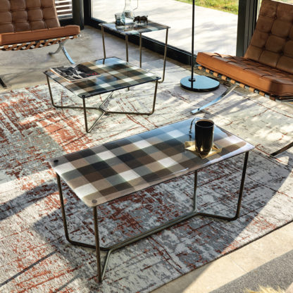 1 FIAM design glazen salontafel Pixel geruit design by Vittorio Livi