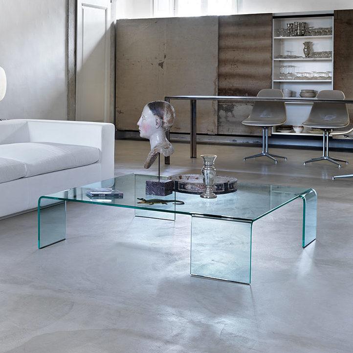 Glazen Salontafels Italiaans Design.Fiam Glazen Salontafel Neutra Rechthoek
