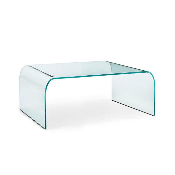 Bijzettafel Gebogen Glas.Fiam Glazen Salontafel Ponte Vierkant
