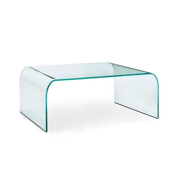 Salontafel Gebogen Glas.Fiam Glazen Salontafel Ponte Vierkant