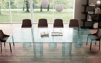 FIAM design glazen eettafel Luxor 240x80x75 helder glas design by Rodolfo Dordoni