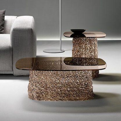 FIAM glazen salontafel Macrame 90x65x33 brons design by Paolo Lucidi E Luca Pevere (2)