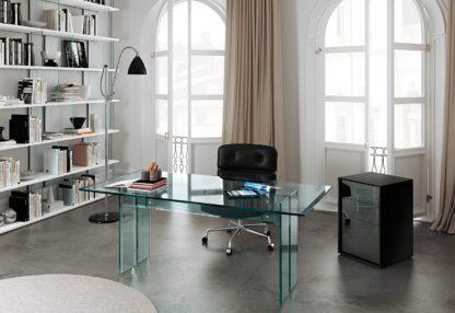 fiam glazen bureau LLT - design by Dante O. Benini E Luca Gonzo - detail