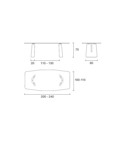 FIAM Glazen design eettafel Plie afmetingen design by Studio Klass