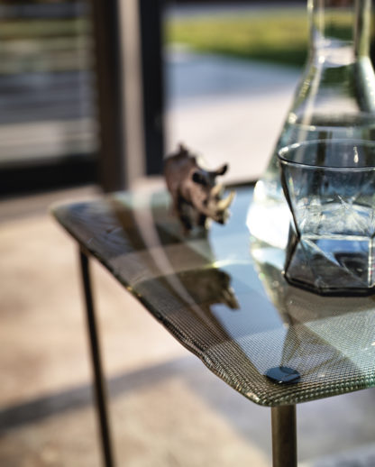 2 FIAM design glazen salontafel Pixel geruit design by Vittorio Livi