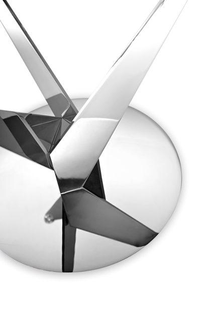 FIAM glazen design eettafel Epsylon zilver onderstel helder glas design by Fabio di Bartolomei