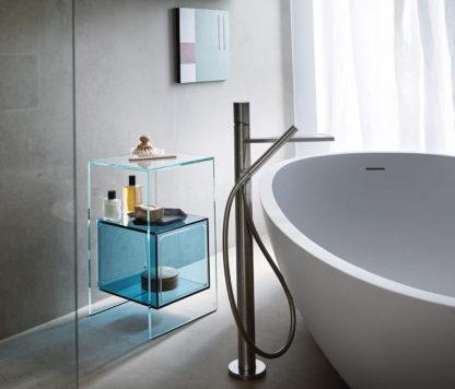 2 fiam glazen hoektafel Magique design by Studio Klass - extra helder en blauw