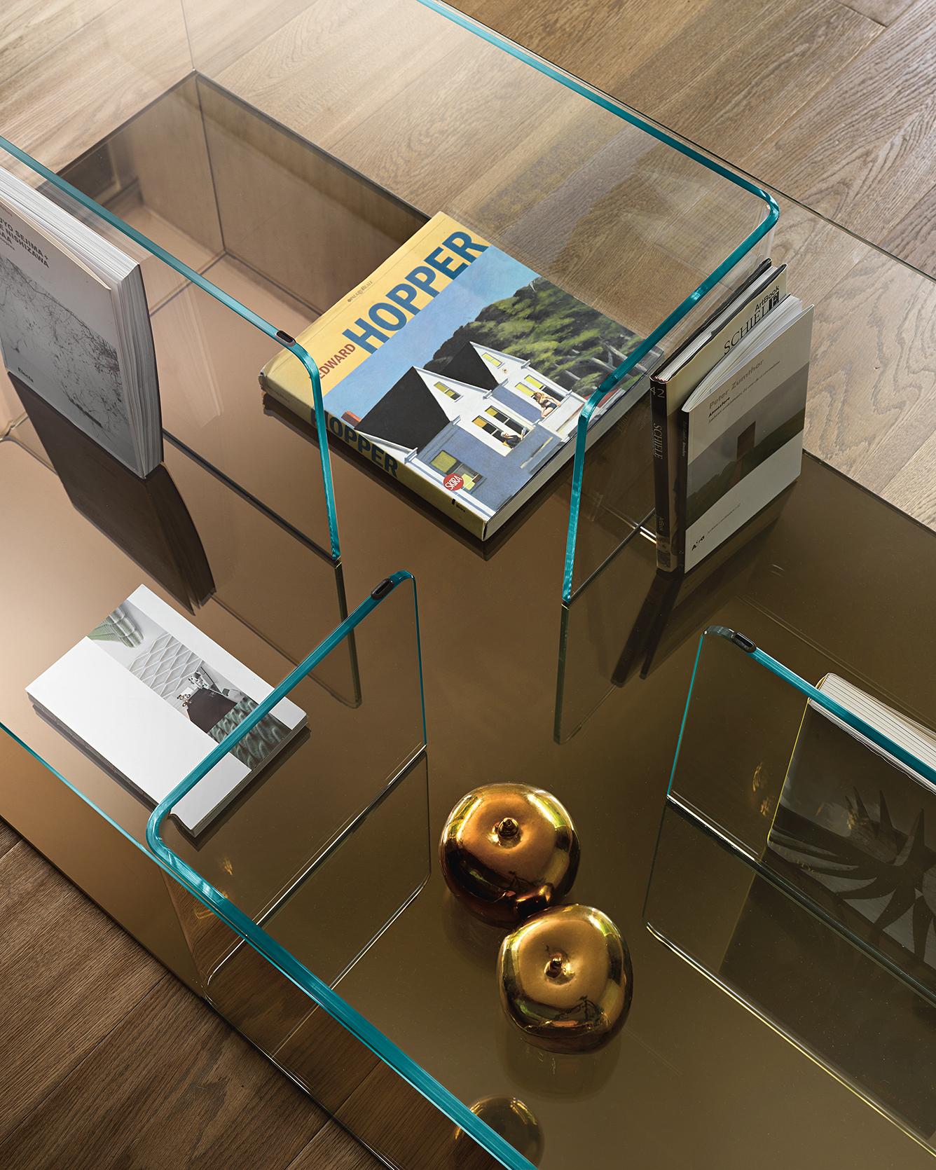 Salontafel Glas Met Brons.Fiam Glazen Salontafel Quadra