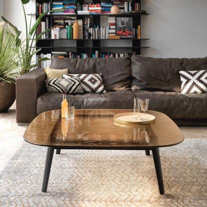 3 fiam design glazen salontafel Magma brons glas met zwart onderstel design by Patrick Jouin