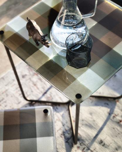 4 FIAM design glazen salontafel Pixel geruit design by Vitorio Livi detail