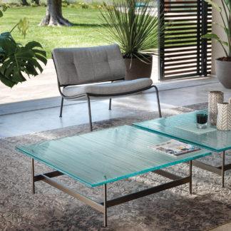 4 fiam design glazen salontafel waves - design by roberto palomba - helder glas met mat zwart gelakt staal
