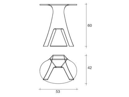 4 fiam glazen bijzettafel Grillo design by Vitorrio Livi technische details