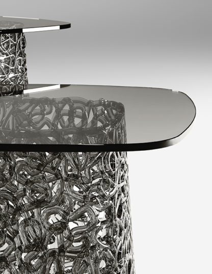 4 fiam glazen hoektafel Macrame grijs detail design by Paolo Lucidi E Luca Pevere