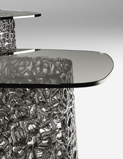 FIAM glazen hoektafel Macrame grijs detail design by Paolo Lucidi E Luca Pevere