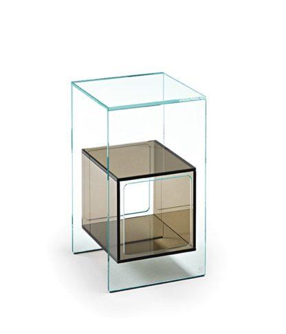 4 fiam glazen hoektafel Magique design by Studio Klass - extra helder en brons glas
