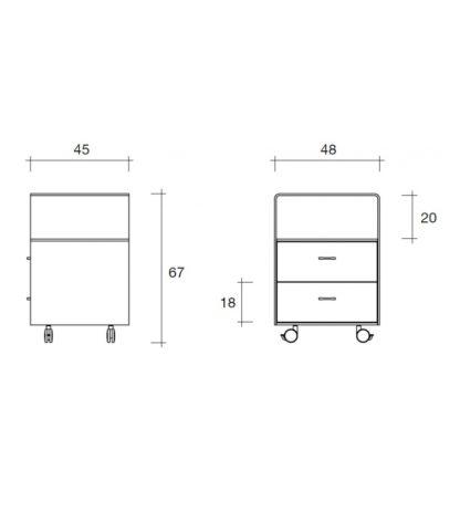 FIAM glazen ladekast Rialto Cassettiera design by CRS FIAM - technische details