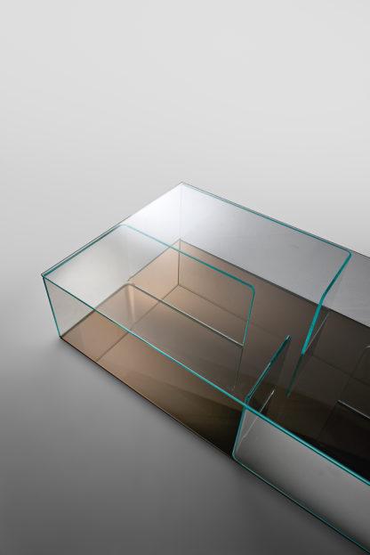 FIAM glazen salontafel Quadra brons design by Matteo Nunziati