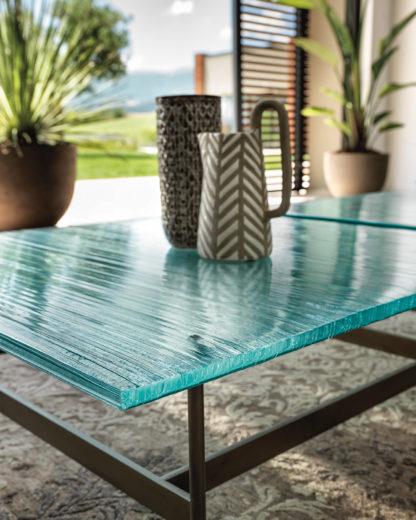 5 fiam design glazen salontafel waves - design by roberto palomba - helder glas met mat zwart gelakt staal 2