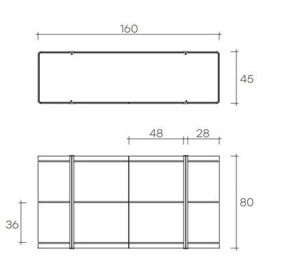 (5) fiam glazen design vitrine milo sideboard design by Ilaria Marelli technische specificatie 160x45x80