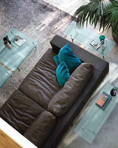 6 fiam design glazen salontafel waves - design by roberto palomba - helder glas met mat zwart gelakt staal 3
