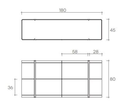 (6) fiam glazen design vitrine milo sideboard design by Ilaria Marelli technische specificatie 180x45x80