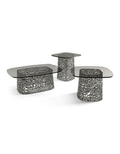 FIAM glazen salontafel Macrame grijs design by Paolo Lucidi E Luca Pevere