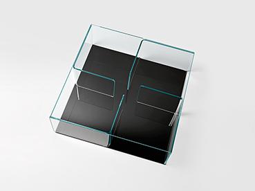 FIAM glazen salontafel Quadra zwart - design by Matteo Nunziati
