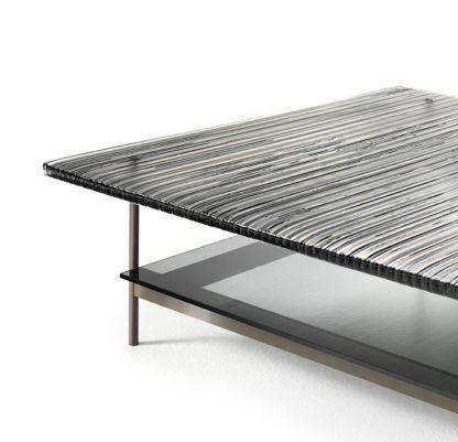 7 fiam design glazen salontafel waves - gestreept bruin met tussenblad design by roberto palomba