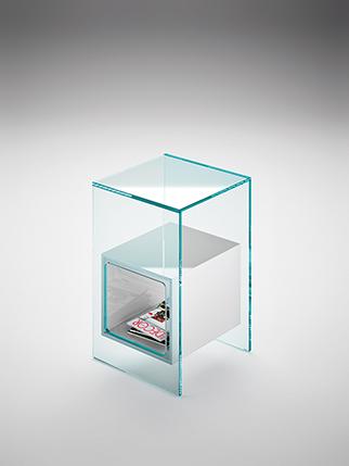 7 fiam glazen design hoektafel Magique - extra helder met wit glas - design by Studio Klass