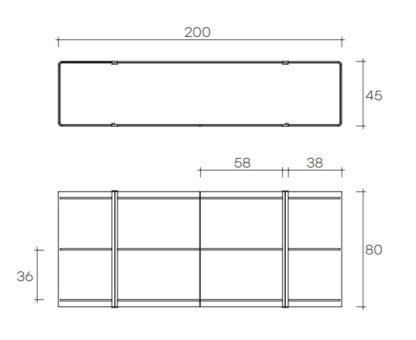 (7) fiam glazen design vitrine milo sideboard design by Ilaria Marelli technische specificatie 200x45x80