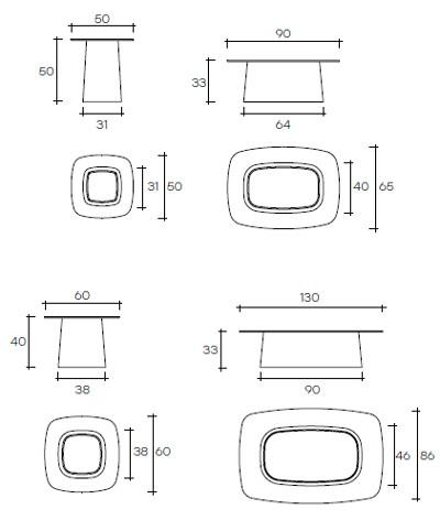 7 fiam glazen salontafel Macrame grijs design by Paolo Lucidi E Luca Pevere