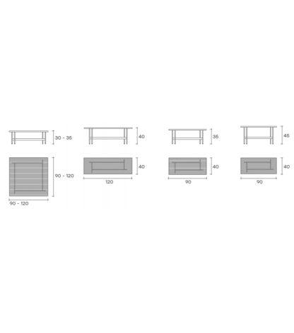 8 fiam design glazen salontafel waves - gestreept bruin met tussenblad design by roberto palomba