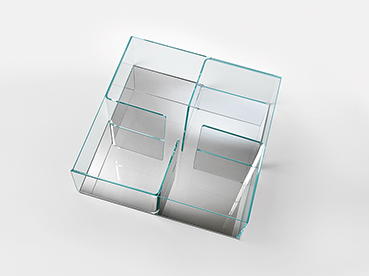FIAM glazen salontafel Quadra verzilverd - design by Matteo Nunziati