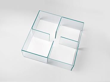 FIAM glazen salontafel quadra wit