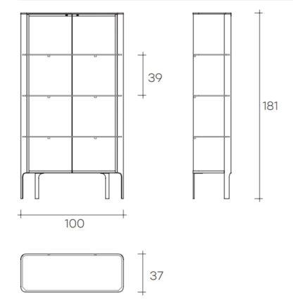 Fiam glazen design vitrine aura design by Patrick Jouin (5) technische specificatie