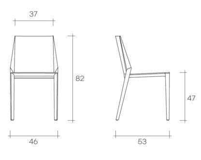 fiam design stoel kamy design by Setsu E Shinobu Ito - technische specificatie