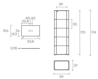 fiam glazen design vitrine MILO DAY technische tekening (5)