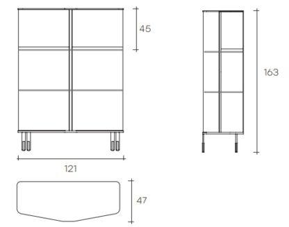 fiam glazen design vitrine PLIE technische tekening (9)