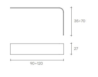 fiam glazen design vitrine mesole (3) technische tekening