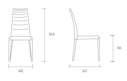 Fiam stoel Brigitte bruin design by Fabio Di Bartolomei / technische specificatie