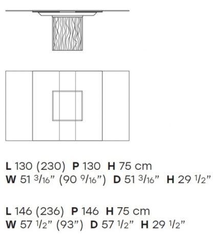 FIAM design eettafel Rime by Bartoli design - technische details