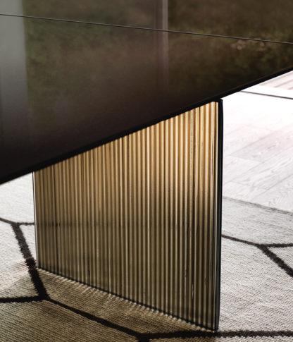 2 fiam design eettafel Waves design by Ludovica en Roberto Palomba - bruin met brons glas onderstel