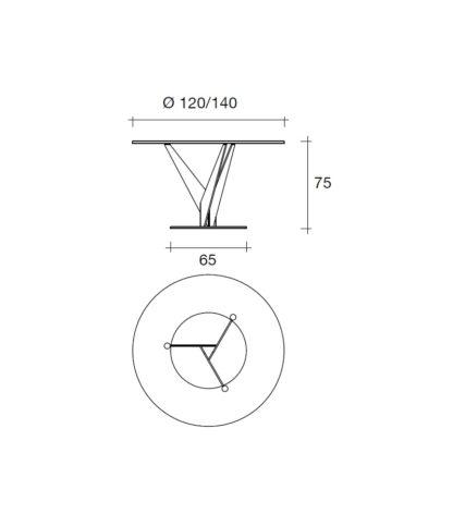 FIAM glazen design eettafel epsylon brons rond design by fabio bartolomei