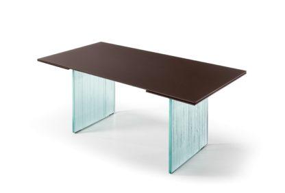 3 fiam design eettafel Waves design by Ludovica en Roberto Palomba - bruin met helder glas onderstel 1 uitschuifbaar
