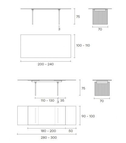 5 fiam design eettafel Waves design by Ludovica en Roberto Palomba - technische details