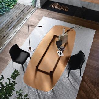 FIAM glazen design eettafel Magma - design by Patrick Jouin (brons en zwart) (2)